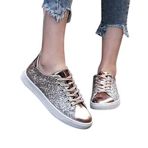 Buy Bargain Dainzuy Womens Sparkly Shoes Flats Glitter Sneakers Lace Up Closed Sparkle Round Toe Fla...