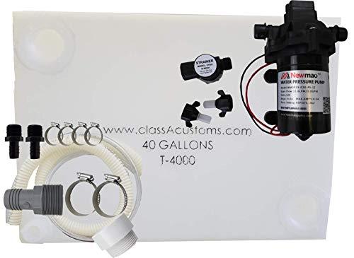 Class A Customs | 40 Gallon RV Concession Fresh Water Tank with Plumbing Kit & 12 Volt Water Pump | T-4000-BPK-PUMP