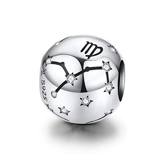 Charms in argento Sterling 925 con segno zodiacale per braccialetti da donna e uomo regalo di Natale e Argento, colore: Vergine (8.23-9.22), cod. YS-C1218-1