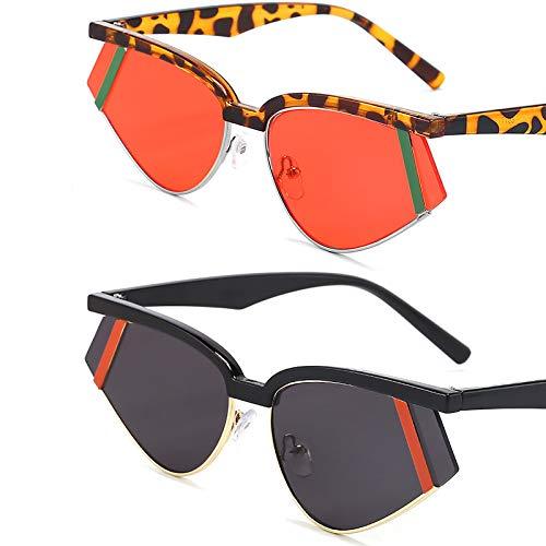HFSKJ Pack de 2 Gafas de Sol, Gafas de Sol Triangulares de Metal Gafas de Sol Coloridas Las Gafas Populares Son adecuadas para Hombres y Mujeres,C