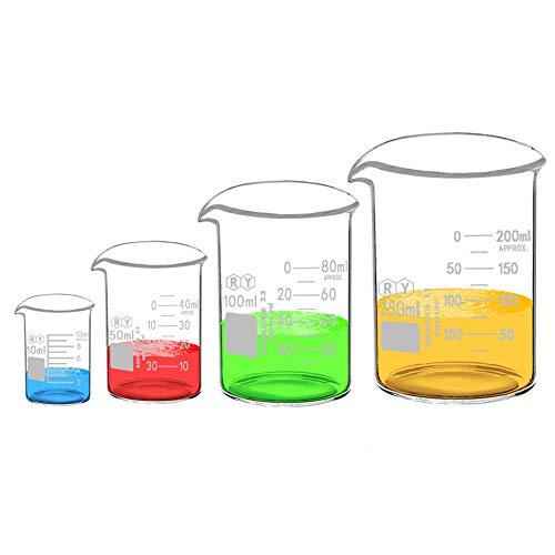 Glass Beakers Set Borosilicate Graduated Measuring Low Form Glass Beaker 4 Sizes 10ml 50ml 100ml 250ml