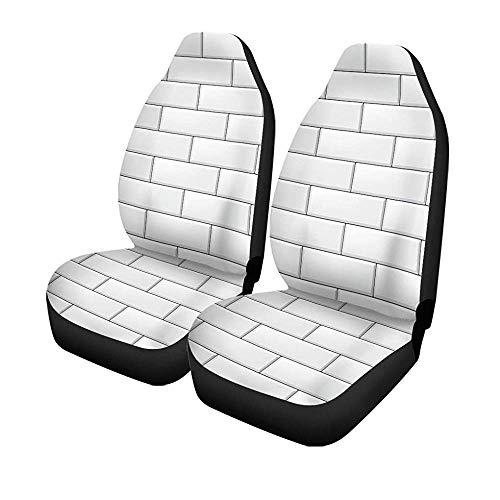 Beth-D set van 2 autostoelhoezen keramiek moderne rechthoekige baksteen witte tegels realistische abstracte badkamer universele auto voorstoelen protector 14-17IN