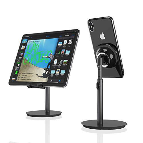 Cell Phone Stand, Tablet Holder, SAIJI Height Adjustable Aluminum Stand Mount, Compatible with iPhone, Samsung Cell Phone, Tablet, iPad, Nintendo Switch, Kindle, Up to 10 Inch Screen (Black)