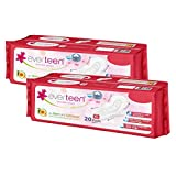 everteen XL Cottony-Soft Top Sanitary Pads with Neem and Safflower – 2 Packs (20 Pads Each, 280mm)