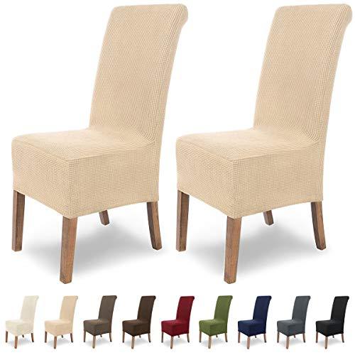 SCHEFFLER-Home Stretch Stuhlhusse Sofia | 2er Set elastische Stuhlabdeckungen | Stuhlhussen Schwingstühle | Flanell Spannbezug mit Gummiband | Elegante Stuhlbezüge