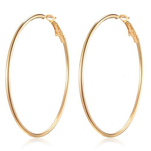 Hoop Earrings -18K Gold Plated Plated Silver Rounded Rose Gold,Copper material Hypoallergenic Hoops Earrings for Women Girls - Amazon Vine