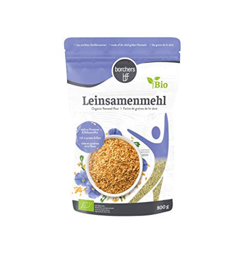 borchers Bio Leinsamenmehl, Mehl aus Goldleinsaat, Von Natur aus Ballaststoffreich, Hoher Eiweißgehalt, Vegetarisch, Vegan, 800 g