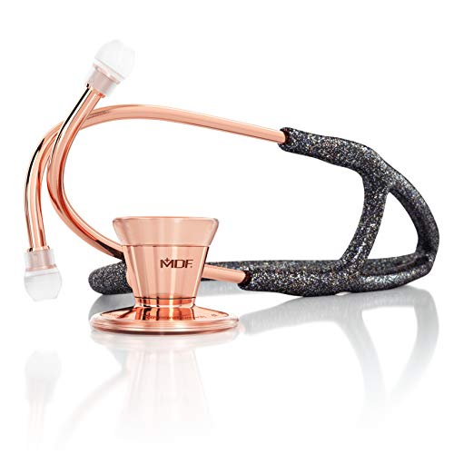 MDF Instruments Classic Cardiology Glitter Rose Gold Dual Head Stethoscope - with Stainless Steel Chestpiece and Headset (MDF797-GLRG)