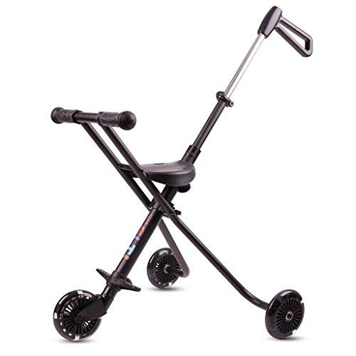 Kinder Dreirad Schiebe Baby Artefakt Einfache Kinder Trolley leicht gefaltet Leichtgewichtler Portable GAOLILI (Farbe : Schwarz)