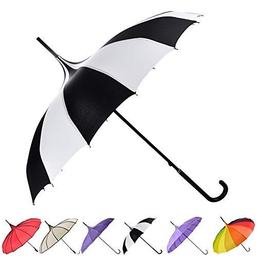 outgeek Retro Pagode Regenschirm Sonnenschirm Regenschirm Sonnenschirm mit Haken Griff Weiß, Schwarz