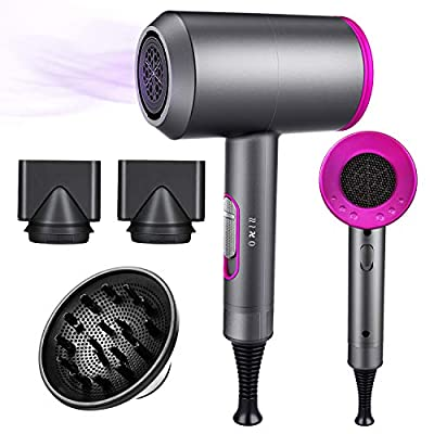 Ionic Hair Dryer, 1800W Professional Hair Dryer for Fast Drying, Hair Blow Dryer with 2 Concentrator, Travel Hair Dryer with 3 Temperature & 2 Speed, Low Radiation, for Home, Salon, Pregnant, Children