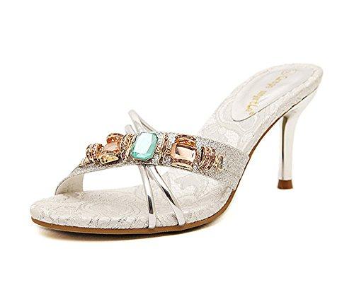 Dayiss Elegant Damen High Heels Stiletto Sandalen & Pantoletten mit Strass Outdoor Schuhe (39, Silber)