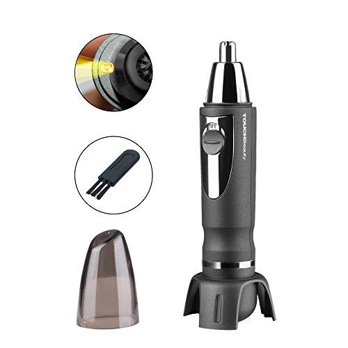 TOUCHBeauty® TB-0616 Mini 360 degrés Tondeuse Rasoir Électrique à Piles pour les Poils du Nez et des Oreilles pour Homme Coupe avec LED(Nior)
