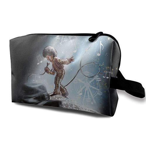 Bolsa de maquillaje de viaje con pulsera de Michael Jackson, bolsa de aseo portátil con cremallera para niñas y mujeres