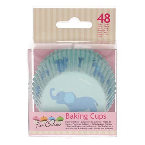 FunCakes Azul 48 Cápsulas para Cupcakes o Magdalenas de Papel Extra Resistente y Antigrasa, Baby Boy o Bebé Niños, 5x3.2cm