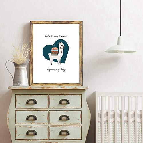 PLjVU Animal Alpaca decoración de la Pared Lienzo impresión y póster Lindo Camello Lienzo ng Impresiones habitación de los niños-Sin marco30x40cm