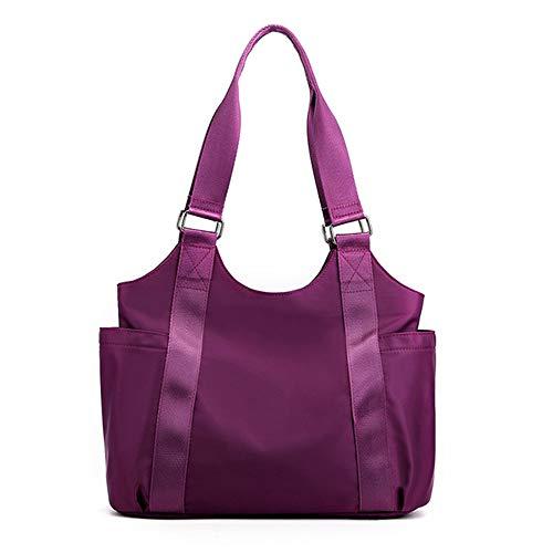 Bolso grande ligero de la compra de la honda del bolso del bolso del hombro para las mujeres del viaje, morado (Púrpura/Ombre Force.), Large