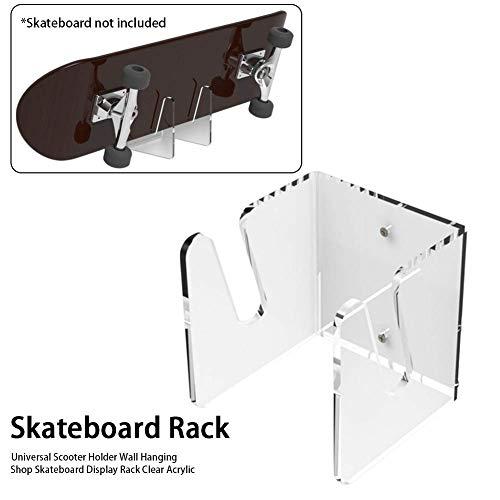 Acryl Skateboard Rack Wandhalterung Anzeige Rack Skateboard Ständer Halter Einfach Installation Skateboard Wand Aufhänger für die Aufbewahrung Von Ihre Alle Skateboards - Durchsichtig