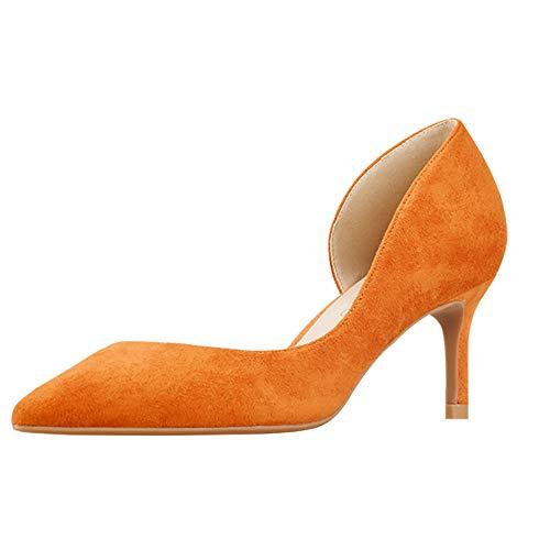 GOXEOU Damen Pumps Wildleder Spitze Zehen Stiletto Absatz High Heels D'Orsay Kleid Pumps Schuhe Stilettos Orange 6 Cm Absatz - Größe: 37 EU