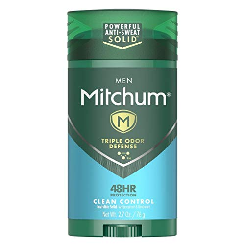 Mitchum Antiperspirant Deodorant Stick for Men, Triple Odor Defense Invisible Solid, 48 Hr Protection, Dermatologist Tested, Clean Control, 2.7 oz
