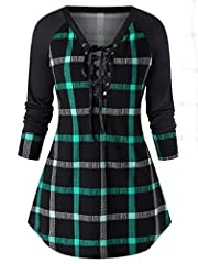Material: Polyester Raglan Sleeve, Plaid Pattern, Lace up Loose casual tunic silhouette will make you be more comfortable Great autumn winter spring in style when you wear this comfortable long-sleeve tunic featuring a plaid design. great for pairing...