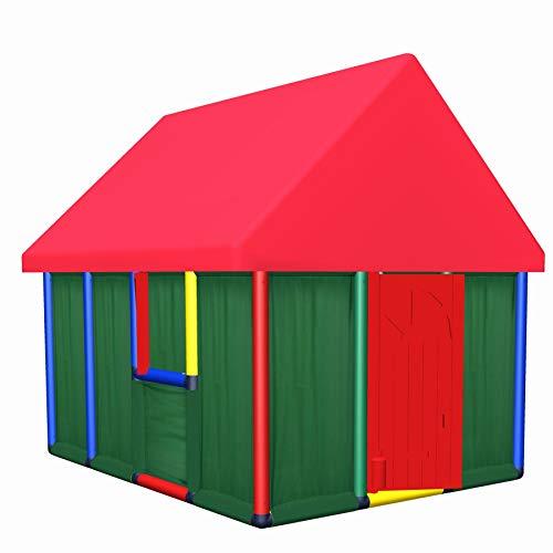 Move and stic 6304 – Casa de juegos familiar con puerta y 2 ventanas, estable para interior y exterior, habitación de los niños, casa de juegos de jardín, casa