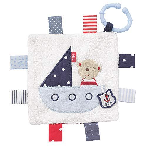 Fehn 078749 Knistertuch Teddy mit Ring / Activity-Rascheltuch zum Aufhängen mit spannenden Strukturen zum Greifen & Geräusche erzeugen – für Babys und Kleinkinder ab 0+ Monaten, Mehrfarbig ,16x16
