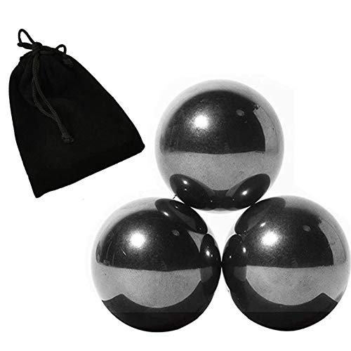 NICO SEE WONDER 1.34 Inch 34mm Black Magnetic Balls, 3Pieces Magnets Fidget Toys with Bag, Hematite Magnetic Rattlesnake Egg.