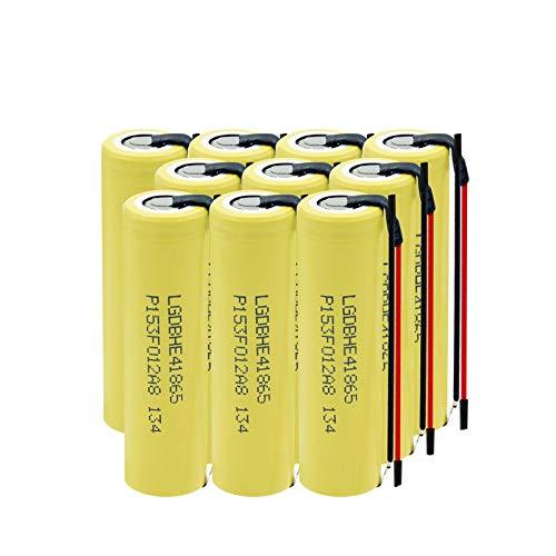 MGLQSB 3.7v 2500mah Batería De Alta Descarga 35a 18650 He4, Batería Recargable DIY Linie para Linterna 10PCS