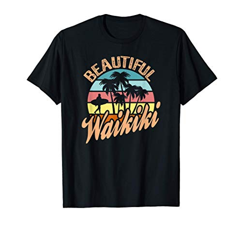 Hawaii HI Oahu Waikiki Beach Vintage Surfer Sunset Vacation Camiseta