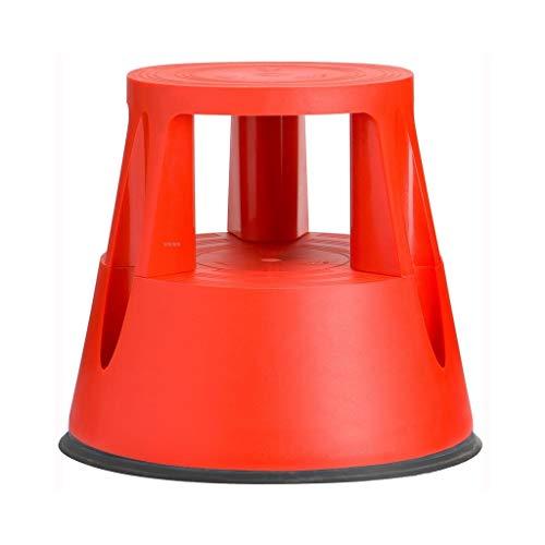 Timber Stool Kick Hocker | Rolling Hocker mit gefederten Rädern | rutschfeste Gummiplattform | 150kg Tragfähigkeit | Grau (Color : Red)