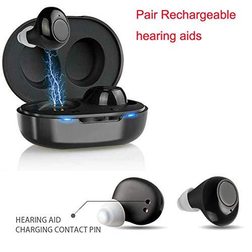 JJIIEE Amplificateur d'aides auditives personnelles, Ressemble à des écouteurs avec étui de Chargement Portable, amplificateurs auditifs Rechargeables pour Un Son Clair à Volume réglable