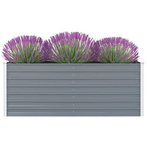 vidaXL Hochbeet Pflanzenbeet Gemüsebeet Pflanzkasten Frühbeet Gartenbeet Pflanzkübel Blumenkasten Blumenbeet 160x80x45cm Verzinkter Stahl Grau