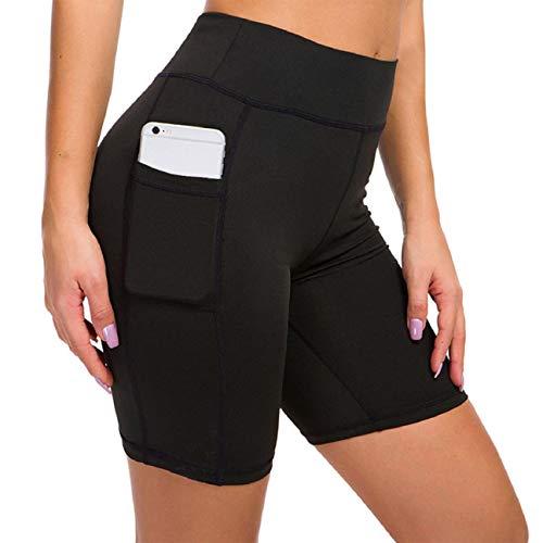Voqeen Pantalones Cortos Deportivos para Mujer Pantalones Cortos de Yoga de Cintura Alta con Bolsillos Laterales, Pantalones de Entrenamiento