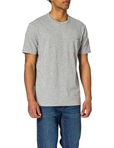 Springfield Camiseta Boxy Bolsillo, Gris Medio, L para Hombre