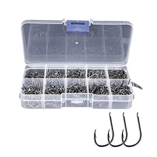 Ganchos de Pesca 100/200/300 PCS de anzuelos de acero al carbono de alta anzuelos conjunto con caja de plástico transparente 10 Tamaño (3 # -12 #) Agua salada peces de...