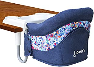 Hook On High Chair, Clip on Table High Chair with Dining Tray for Babies and Toddlers, Folding Flat Storage Feeding Seat with Convenient Carry Bag (Denim Blue)