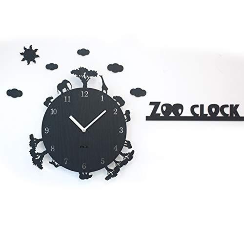 Reloj de Pared Creativo Wall Clock- - Zoo for no Hacer tictac del Reloj de Pared silencioso, fácil de Leer Perfecto for el hogar/Oficina, a Pilas (Marco de Regalo) Cubierta Decorativa Decoraciones d