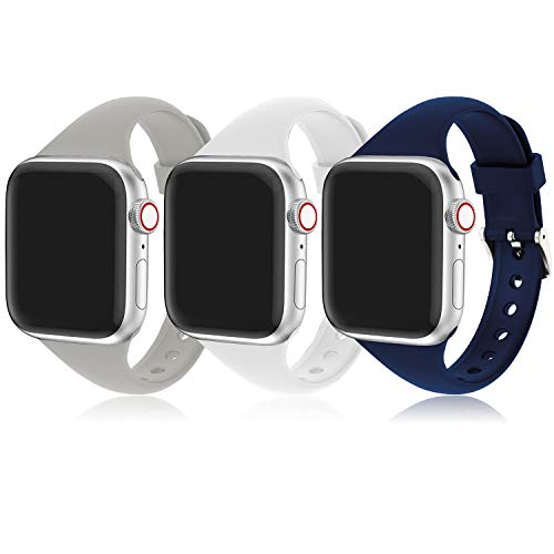 Cinturino Apple Watch, Compatibile per iWatch Serie 6 5 4 3 2 1, Cinturino Sportiva in Slim Silicone Traspirante, Applica a Apple Watch SE/Apple Watch 44mm 42mm 38mm 40mm, Uomo e Donna Cinturini