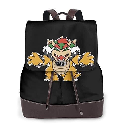 Bowser Coming For You Women Fashion Genuine Leather Backpack Girls Travel School Mini Shoulder Bag