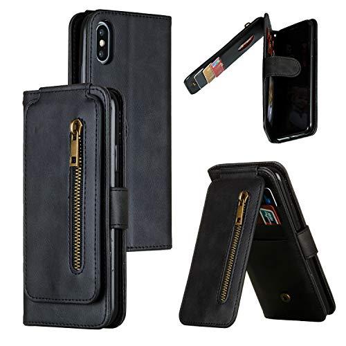 Snow Color iPhone XS/iPhone X Hülle, Premium Leder Tasche Flip Wallet Case [Standfunktion] [Kartenfächern] PU-Leder Schutzhülle Brieftasche Handyhülle für Apple iPhone XS/X - COYKB030048 Schwarz