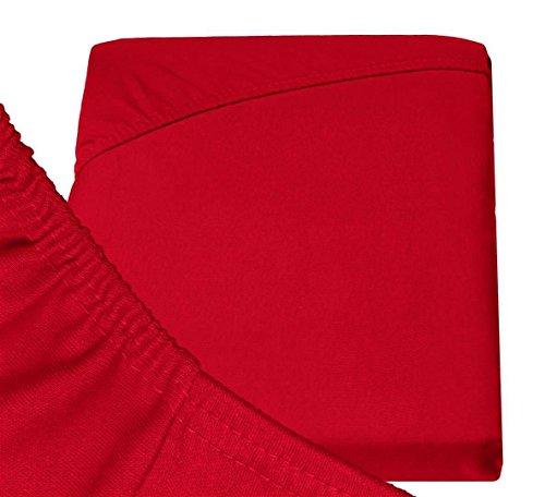 Double Jersey – Spannbettlaken 100% Baumwolle Jersey-Stretch bettlaken, Ultra Weich und Bügelfrei mit bis zu 30cm Stehghöhe, 160x200x30 Rot - 6