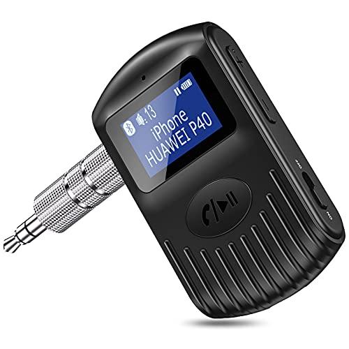 Cocoda Ricevitore Bluetooth con Schermo LCD, Adattatore Bluetooth 5.0 AUX per Auto Home Stereo Altoparlante Cuffie Cablate, Doppia Connessione, Cancellazione del Rumore, Chiamate in Vivavoce, Musica
