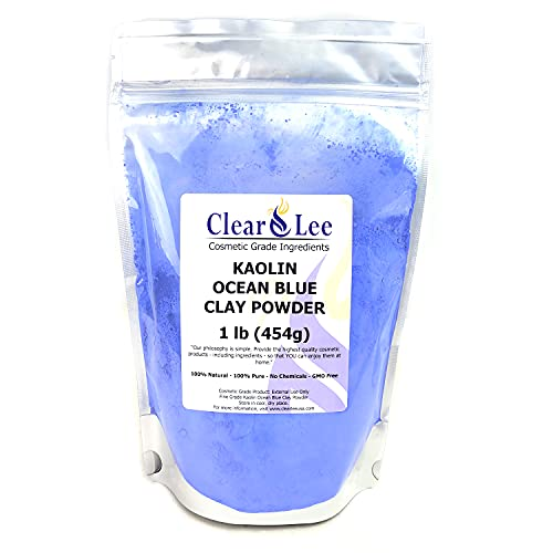 ClearLee Kaolin Ocean Blue Clay Cosmetic Grade Powder - 100% Pure Natural Powder - Great For Skin Detox, Rejuvenation, and More - Heal Damaged Skin - DIY Clay Face Mask (1 lb)