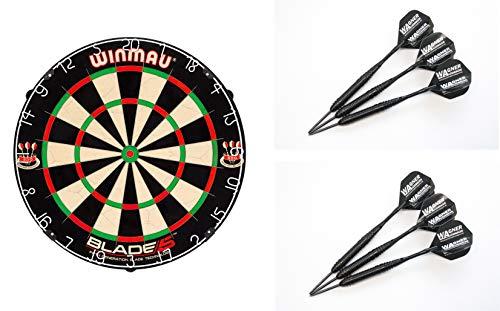 Winmau - Blade 5 - Tablero para dardos y 6 dardos WA de acero, kit para regalo