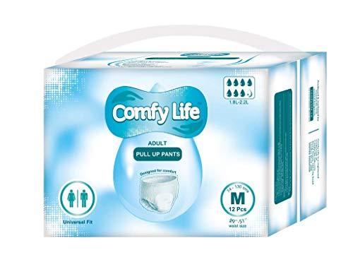 ComfyLife Premium Incontinencia Para Adultos Panales Pull Up Diaper Pants - Talla Media 12 Paquetes De Alta Ansorbencia (Descuento por cantidad disponible para clientes principales)