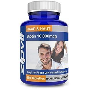 Biotin 10,000mcg Hair Growth Supplement x 180 Tablets | High Strength One-a-Day Formula - Made in UK:Viralinfo