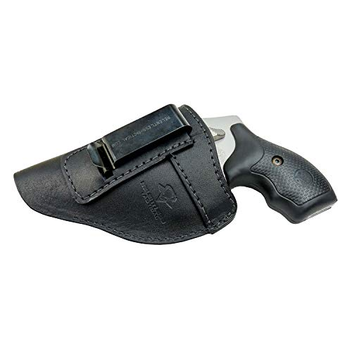 The Defender Leather IWB Holster - Fits Most J Frame Revolvers Incl. Ruger LCR, S&W 442/642, Taurus, Charter & Most .38 Special Revolvers - Made in USA - Black - Right Handed