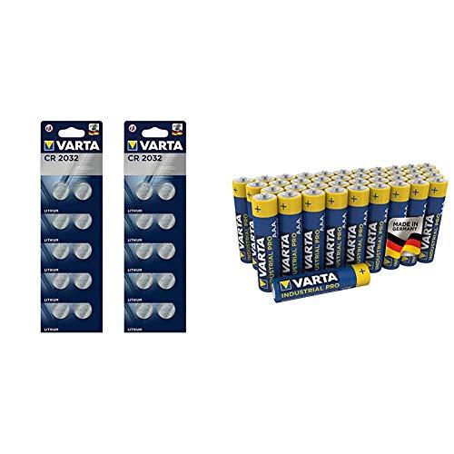 VARTA CR2032 Lithium Knopfzellen 3V Batterie in Original Blisterverpackung, 20er Pack & Industrial Pro Batterie AAA Micro Alkaline Batterien LR03 (umweltschonende Verpackung (40er Pack))