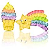 Bohoman 2 pcs Pop it Fidget Toys Baratos Pack Juguetes Antiestrés Push Pop Bubble Sensorial Fidget Toy Juguete para Niños y Adultos Aliviar Eficazmente Estréses del Estudio y el Trabajo(Arcoíris)